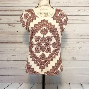 Lucky Brand Red and Cream Geometric Shape Top